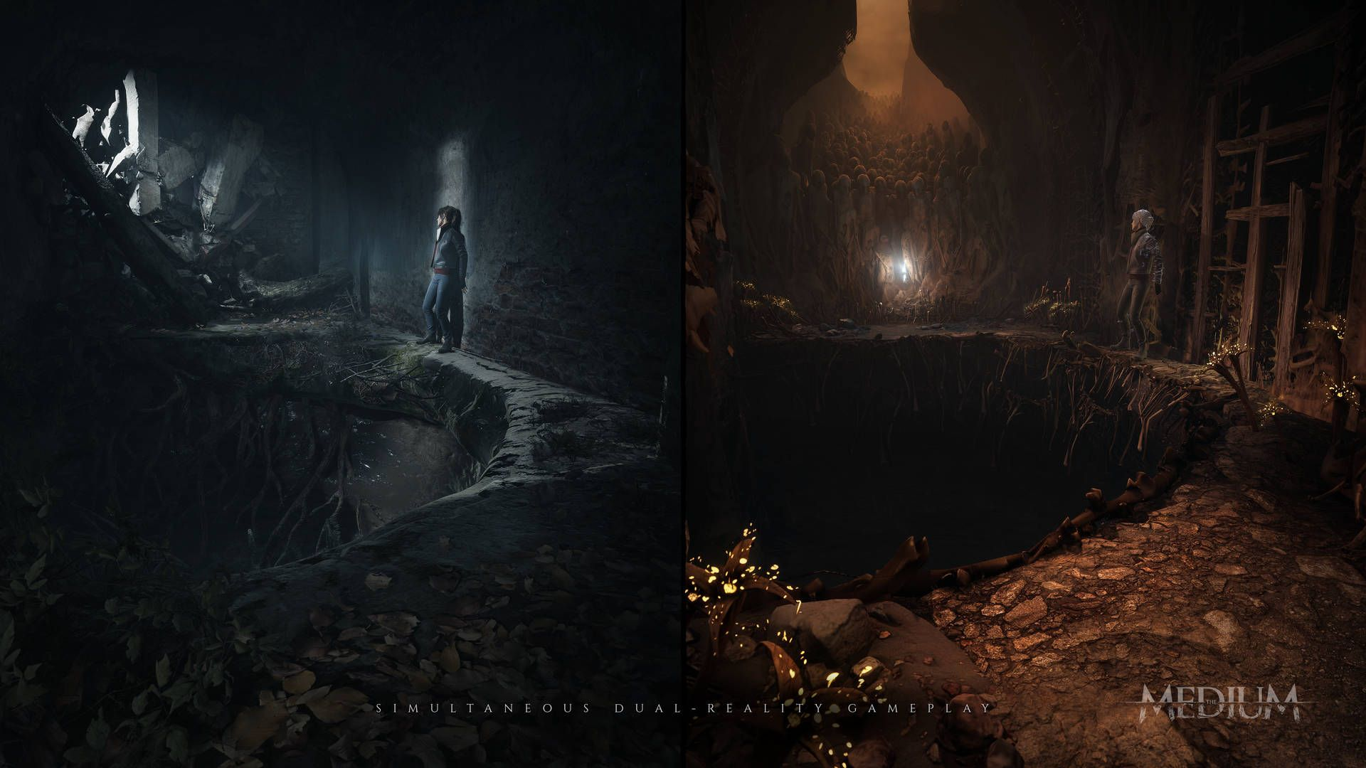 A split screen image from the game The Medium showing the main charater in both the in-game world and the spirt world