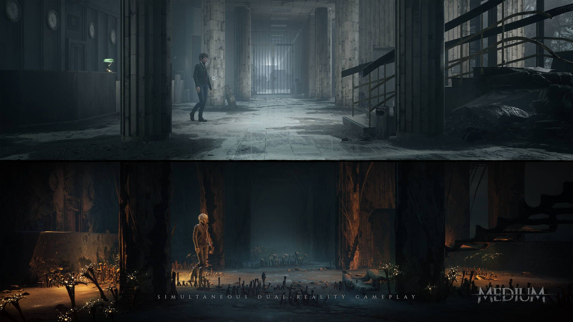 In-game split-screen visual from the game The Medium showing the main character Marianne in the lobby of the ababandoned hotel.