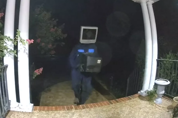 Person wearing a TV on their head spotted leaving old TVs on porches in Virginia